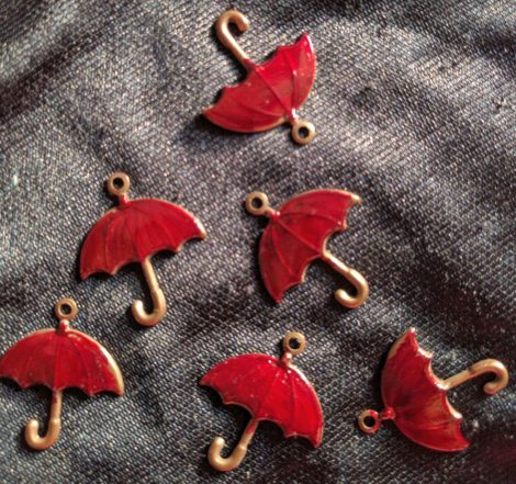 Hand-painted red umbrella charms